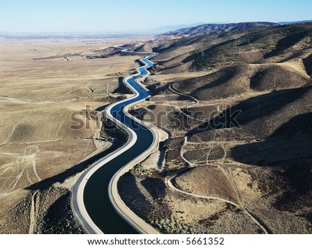 Aerial view of water carrying aqueduct in Outer Los Angeles, California. - stock photo