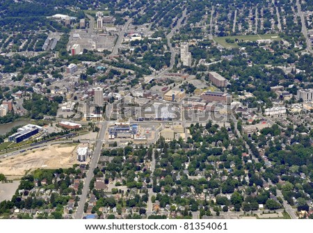aerial view of  Waterloo town center Kitchener-Waterloo, Ontario Canada