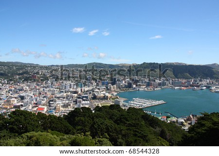 Aerial view of Wellington CBD. North Island, New Zealand. - stock photo