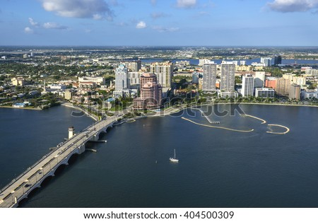 aerial view of west palm beach florida on sunny winter morning of 2013