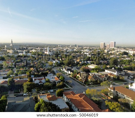 Aerial view of Westwood, California, looking south - stock photo