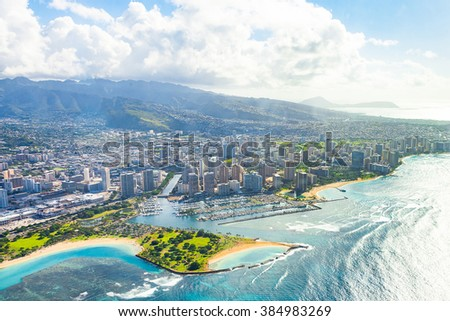 Aerial view of White heaven beach in Whitsundays, Queensland, Australia, sand mountains in ocean, similar to the Honolulu city on Hawaii islands. - stock photo