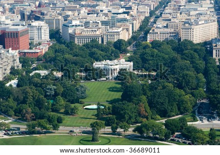 Aerial View of White House in Washington DC - stock photo