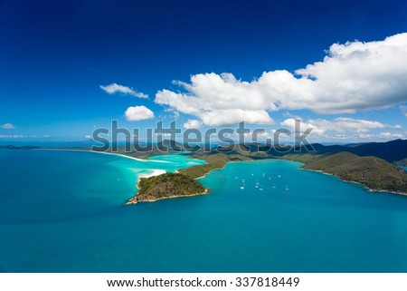 Aerial View of Whitehaven Beach, Queensland, Australia - stock photo