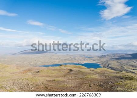 Aerial view of wild Icelandic landscape with lake Hvalvatn, Thingvellir NP. - stock photo