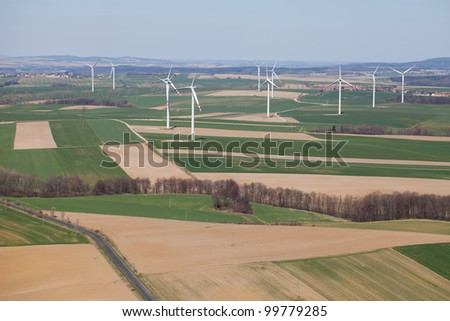 aerial view of wind farm landscape - stock photo