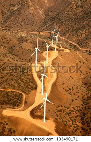 Aerial View of Wind Tubrine Farm in California - stock photo