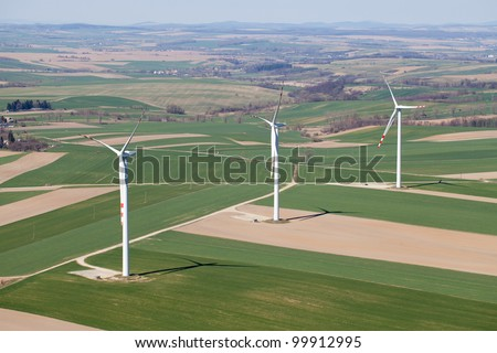 aerial view of wind turbines - stock photo