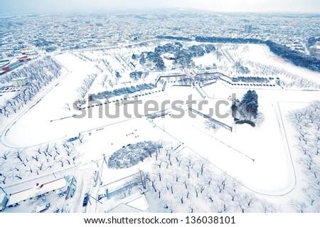 Aerial view of winter from the tower Goryokaku in Hakodate, Hokkaido, Japan - stock photo