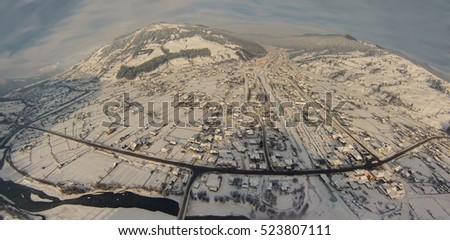 aerial view of winter village