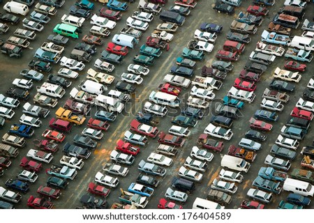 Aerial view of wrecked cars in Charlotte, North Carolina - stock photo