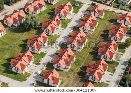 Aerial view of Wroclaw city suburbs in Poland. - stock photo