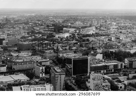 aerial view of Wroclaw town in Poland black and white - stock photo
