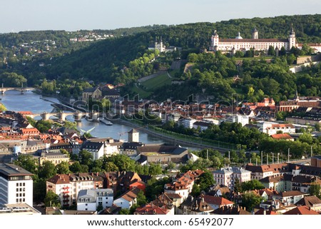 Aerial view of Wurzburg, Franconia, Germany - stock photo
