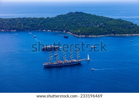 Aerial view of yachts sailing and boats in Adriatic Sea.  - stock photo
