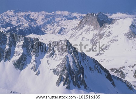 Aerial view of Yosemite National Park, California in winter snow - stock photo