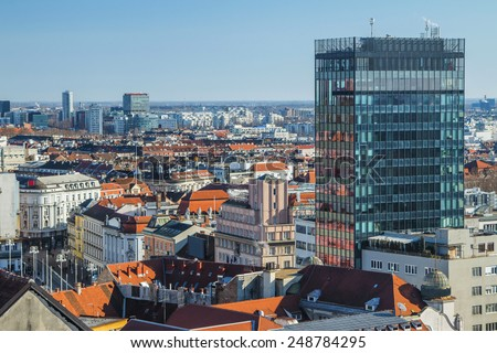 Aerial view of Zagreb center from Lotrscak tower