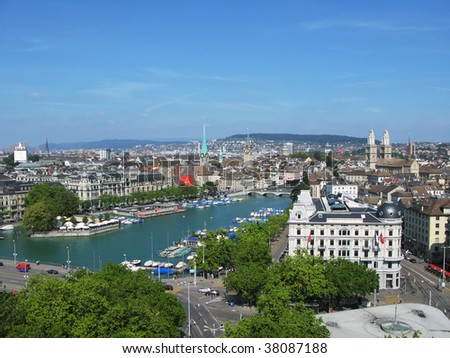 Aerial view of Zurich - stock photo