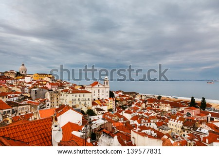 Aerial View on Alfama District of Lisbon, Portugal - stock photo