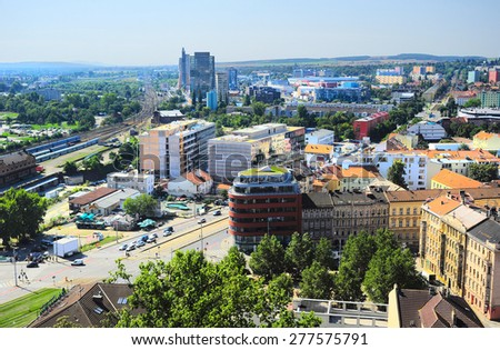 Aerial view on Brno downtown, Czech Republic - stock photo