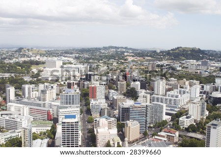 Aerial view on buildings and skyscrapers in Auckland in New Zealand