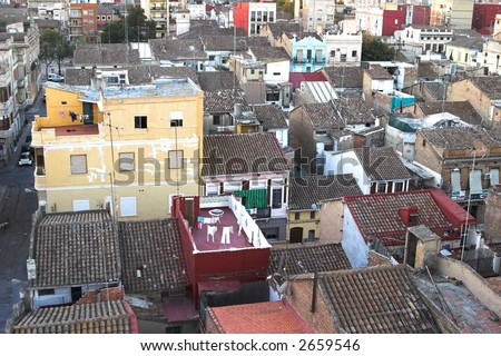 aerial view on densely populated old town - stock photo