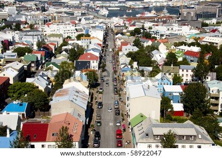 Aerial view on downtown from Hallgrimskirkja church in Reykjavik - Iceland. - stock photo
