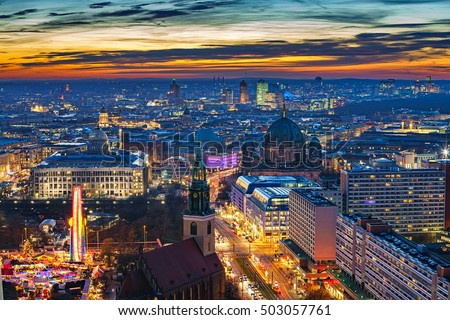 Aerial view on downtown of Berlin at night, Germany