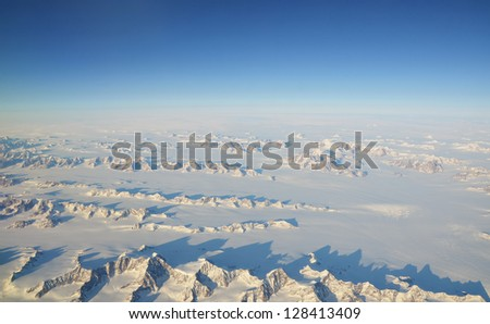 Aerial view on Greenland - stock photo