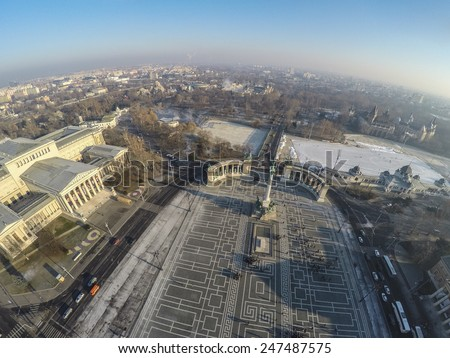 Aerial view on Heroes square in Budapest - stock photo