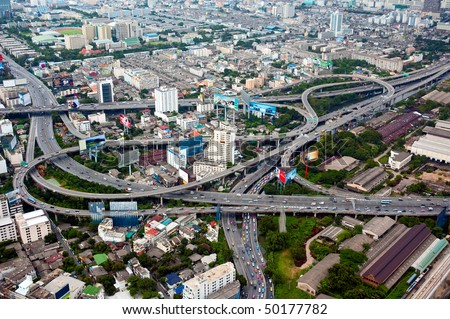 Aerial view on highway overpass in Bangkok, Thailand. - stock photo