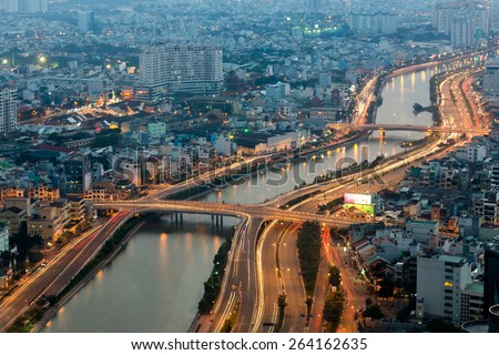 Aerial view on Ho Chi Minh city from the Bitexco tower, Saigon, Vietnam - stock photo