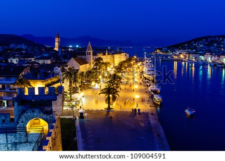Aerial View on Illuminated Ancient Trogir in the Night, Croatia - stock photo