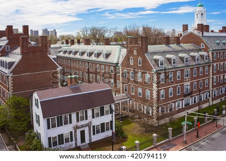 Aerial view on John F Kennedy Street in the Harvard University Area in Cambridge, Massachusetts, the USA. Eliot House white belltower seen on the background. - stock photo