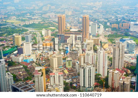 Aerial view on Kuala Lumpur from KL Tower - stock photo