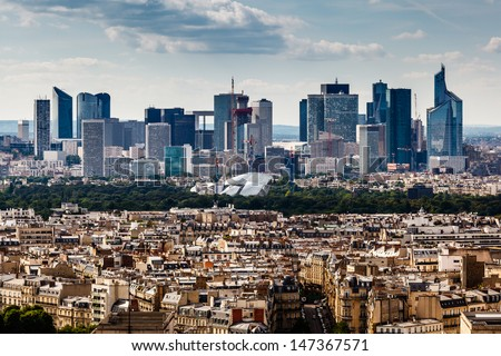 Aerial View on La Defense and its Scyscrapers in Paris, France - stock photo