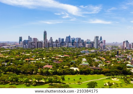 Aerial view on Makati city - Modern financial and business district of Metro Manila, Philippines. - stock photo
