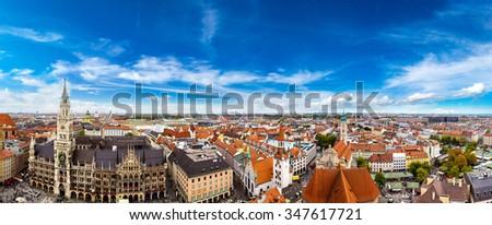 Aerial view on Marienplatz town hall in Munich, Germany - stock photo