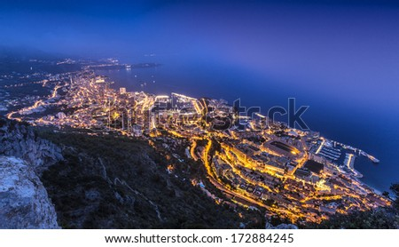 Aerial View on Monaco Monte Carlo by night - stock photo