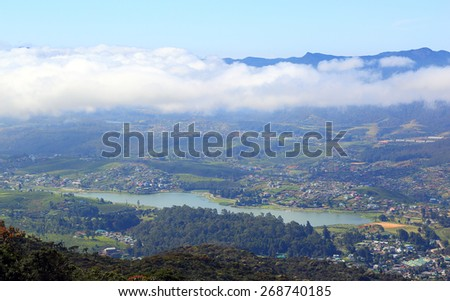 Aerial view on Nuwara Eliya, Gregory lake and clouds over - Sri Lanka - stock photo