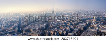 Aerial View on Paris, France with tilt-shift effect - stock photo