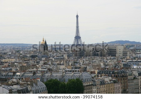Aerial view on Paris with Eiffel Tower