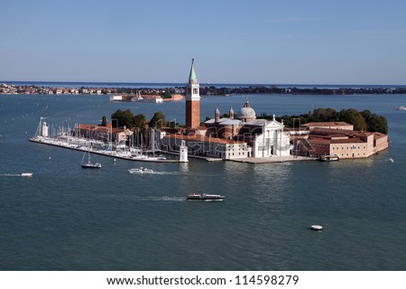 Aerial view on San Giorgio island, Venice, Italy - stock photo