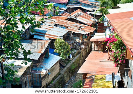 Aerial view on slums at night in Cebu city, Philippines - stock photo