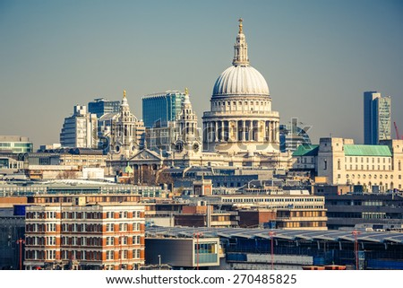 Aerial view on st. Paul Cathedral and city of London - stock photo