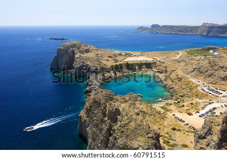 Aerial view on St. Paul's bay in Lindos (Rhodes island) - stock photo