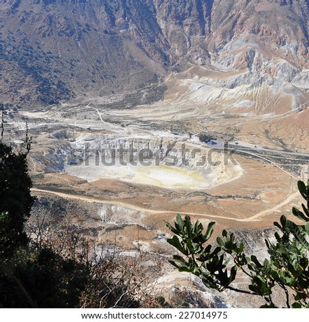 aerial view on Stefanos crater on island Nisyros,Greece - stock photo