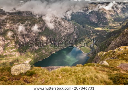 Aerial view on stunning mountains and lake - stock photo