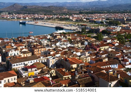 Aerial view on the bay and on the roofs of the city of Nafplion (Nauplia, Nafplio), Greece
