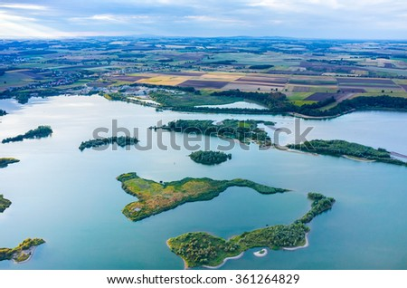 Aerial view on the beautiful large lake - stock photo
